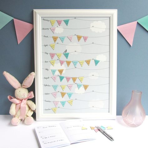 Birthday Reminder Calendar – pastel bunting and blue cloud background design £49.50