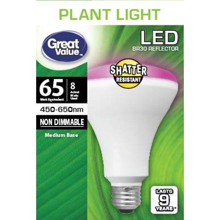 Great Value Led Light Bulb 8 Watts 65w Equivalent Br30 Grow Light Lamp E26 Medium Base Non Dimmable Plant 1 Pack Walmart Com Led Plant Lights Plant Lighting Bulb