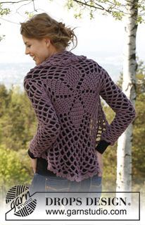 """Crochet DROPS jacket worked in a circle in """"Andes"""". Size: XS - XXXL. ~ DROPS Design"""