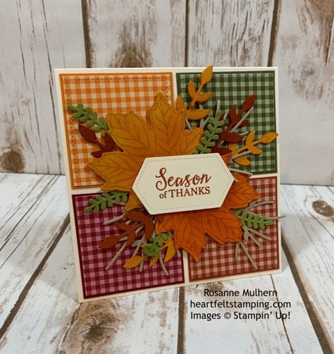 Rosanne Mulhern, Independent Stampin' Up Demonstrator Fall Cards, Holiday Cards, Christmas Cards, Handmade Thanksgiving Cards, Thanksgiving Favors, Thanksgiving 2020, Scrapbooking, Scrapbook Cards, Leaf Cards