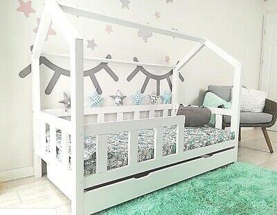 Kinderbett Kinderhaus Holz Spielbett Hausbett 90x200 Weiss