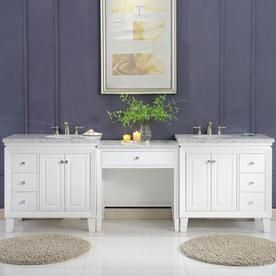 Silkroad Exclusive 103 In White Double Sink Bathroom Vanity With