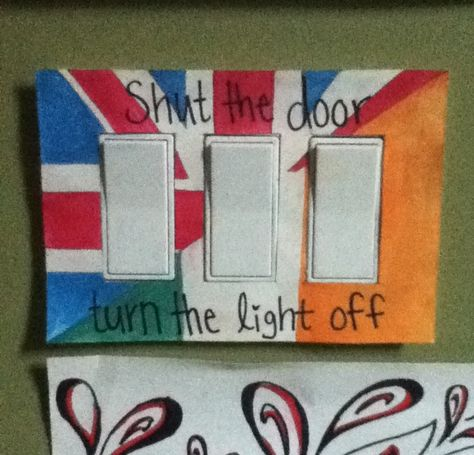 Boredom + one direction infection = creative looking light switch