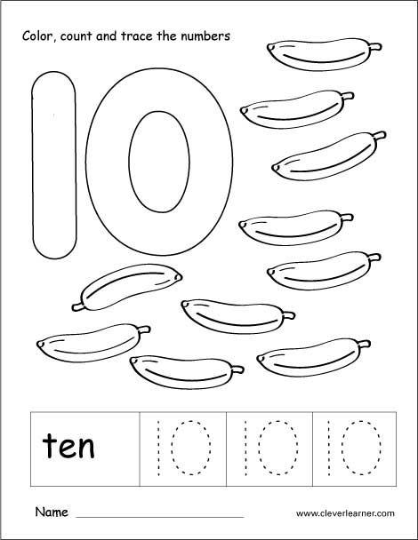 Number 10 Tracing And Colouring Worksheet For Kindergarten