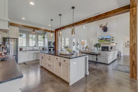 Concrete Floors In House, Concrete Kitchen Floor, Kitchen Flooring, Stained Concrete Flooring, Farmhouse Flooring, Farmhouse Interior, Country Farmhouse, Modern Farmhouse, Open Kitchen And Living Room