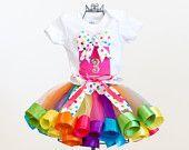 64b9b2fd17 Girl s Second Birthday Rainbow Ribbon Trim Sewn Tutu Skirt Dress with  Coordinating Hair Clip size 2t