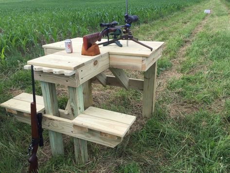 Too wet to farm so decided to build a shooting bench. Been paying attention to other benches I've used and had few ideas what I wanted. Shooting Practice, Shooting Targets, Shooting Guns, Archery Targets, Outdoor Shooting Range, Shooting Table, Outdoor Range, Ohio Hunting, Deer Hunting