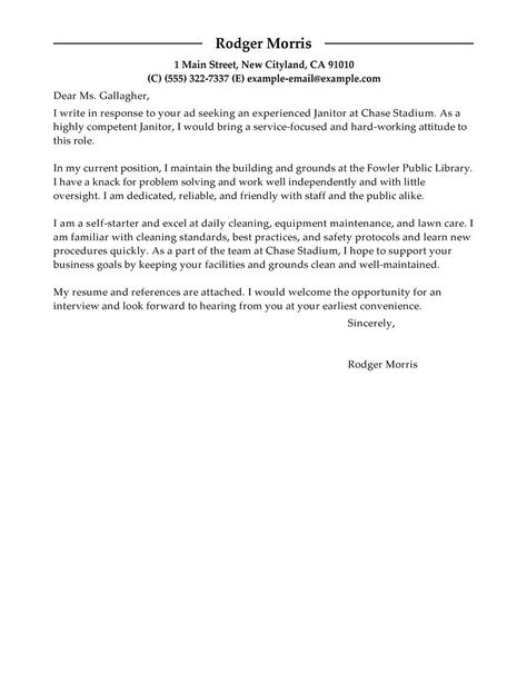 Best Maintenance \ Janitorial Cover Letter Examples LiveCareer - janitorial cover letter