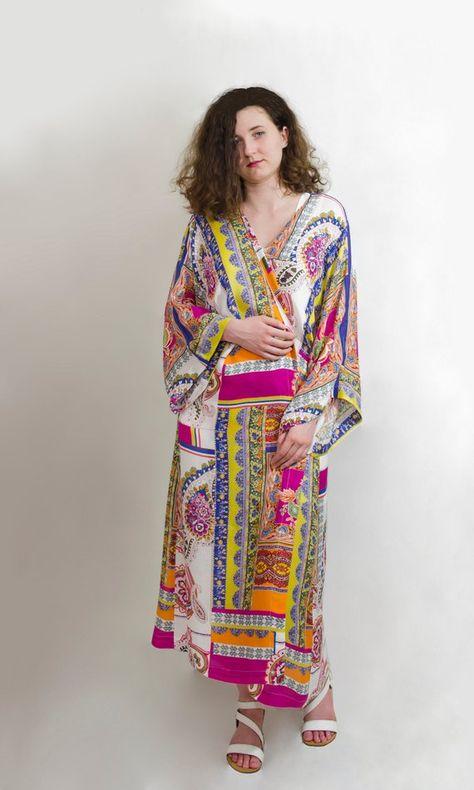 Floral long ethno long sleeves front open cotton kimono cardigan  Beach festival cover up coat  Boho