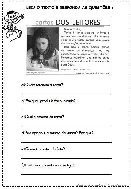 Texto E Exploracao Carta De Leitor Com Imagens Atividades