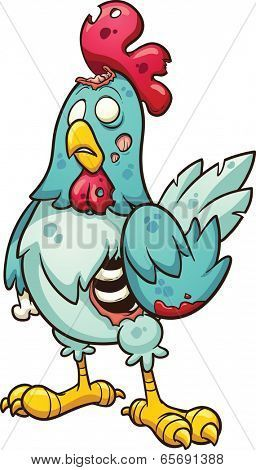 Cartoon zombie chicken. Vector clip art illustration with simple gradients. All in a single layer. poster