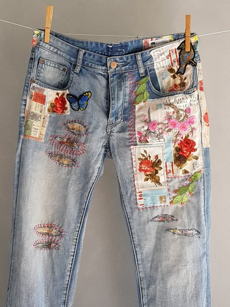 Ready to send:Size-32  unique vintage jeans One of a kind.. Hand made embroidery and unique patches.  ---Or----  Made to order, in any size, within5 working days . If you need different size, please send me a message and I will make you a special and unique design within 4 working days.