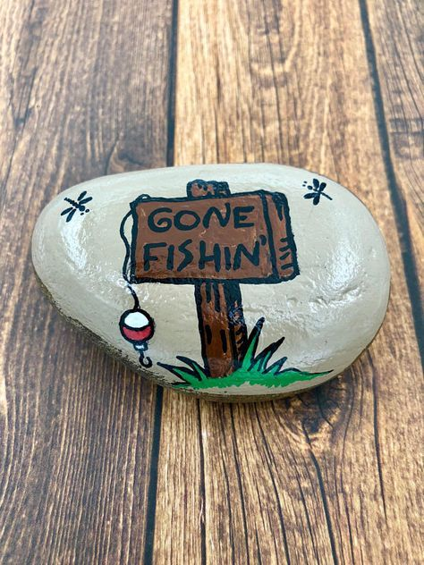 Father's Day Rock, Gone Fishing Rock, Father's Day Painted Stone, Father's day Gift, Father's Day Paperweight, Hand Painted Rock