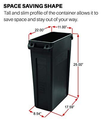 Rubbermaid Commercial Products Slim Jim Plastic Rectangular Trash