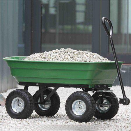 Plowing Tools Heavy Duty Large Capacity Garden Dump Cart Dumper Utility Yard Lawn Wagon Carrier Wheel Barrow Pneum Garden Cart Garden Tools Dump Cart
