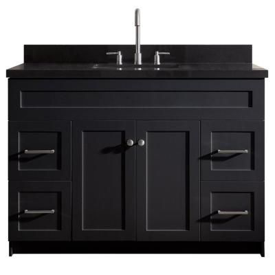 Ariel Hamlet 49 In Bath Vanity In Black With Granite Vanity Top