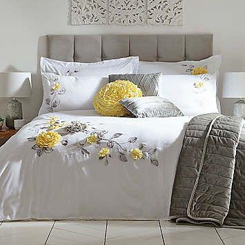 Vintage 3d Flower Embroidered Lemon Duvet Cover Standard Pillowcase Set By Kaleidoscope Kaleidoscope Duvet Sets Bedroom Duvet Cover Shabby Chic Bedroom