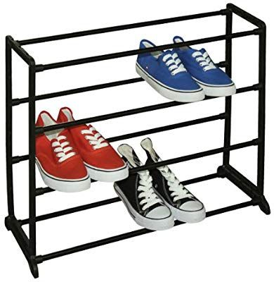 Amazon Com Sunbeam 12 Pair Shoe Rack Black Sr00754 Home Kitchen Metal Shoe Rack Shoe Rack Wayfair Shoe Rack