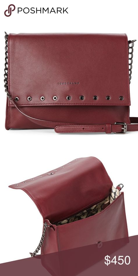 "b58ee99aac89 Longchamp Paris Rocks Large Leather Crossbody Beautiful garnet color. Great  size. 11"" L x 8 1 2"" H x 4 1 2"" W Longchamp Bags Crossbody Bags"
