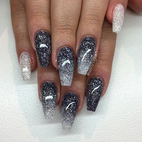 Glittering tip in dark gray glitter and diamond  #diamond #glitter #glittering