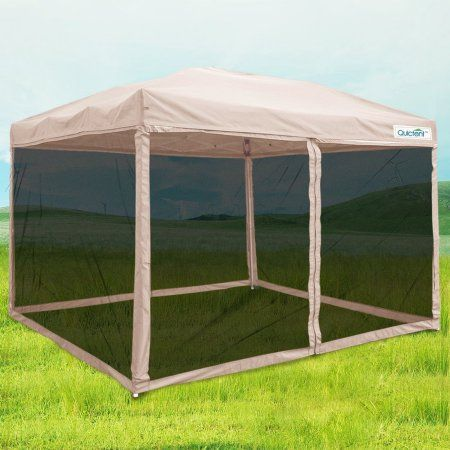 Quictent 10x10 Ez Pop Up Canopy Screen House With Netting Instant Outdoor Canopy Tent Mesh Sideswalls Tan 4 Sizes Walmart Com Screen House Gazebo Canopy Tent Outdoor