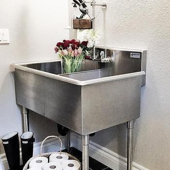 Laundry Room With Stainless Steel Utility Sink Transitional