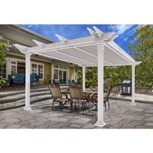 New England Arbors Bristol 12 Ft X 24 Ft White Vinyl Louvered Pergola Va42095 The Home Depot Louvered Pergola Vinyl Pergola Aluminum Pergola