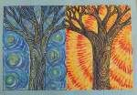 dreampainters: Night and Day Trees. Based on Artsonia lesson. Oil pastel. 2010.