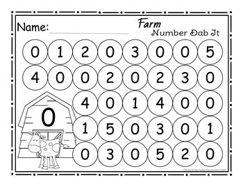 Farm Number 0 25 Dab It Worksheets With Images Numbers