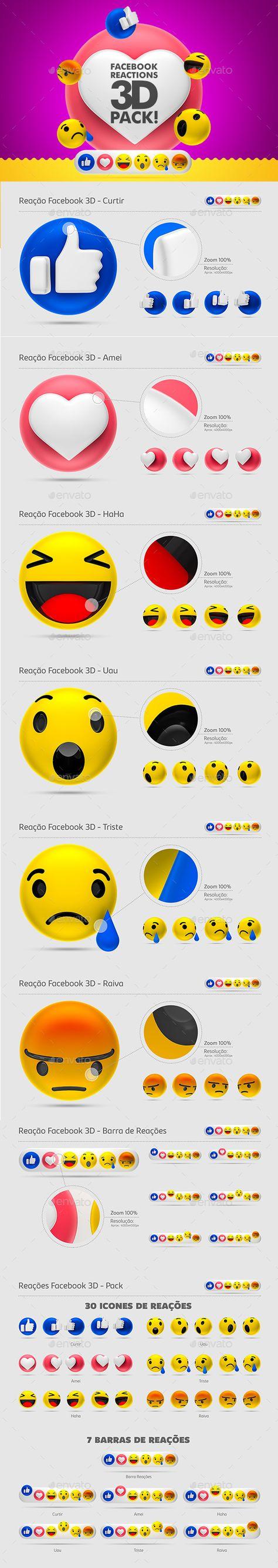 3D Graphics & Renders - Facebook Reactions - 3D Pack!