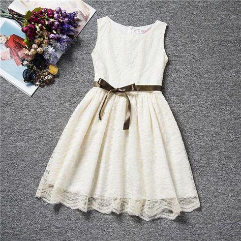 409884fbc46 Fashion Flower Christening Lace Dress For Kids 4 to 10 Years Summer Party Dress  Girls Children Bow Waistband Mini Tutu Dress