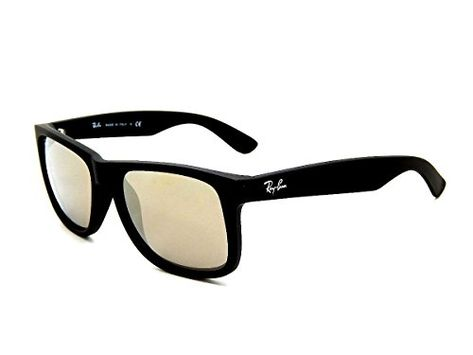 New Ray Ban Justin RB4165 622 5A Rubber Black   Light Brown Mirror Gold  51mm Sunglasses 4e97b078c336
