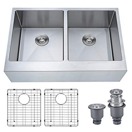 Mowa Had33de Pro Series R10 Tight Radius Handmade 33 16 Gauge Stainless Steel 50 50 Farmhouse Apron Double Bowl Modern Kitchen Sink Modern Kitchen Sinks Apron Sink Kitchen Kitchen Sinks For Sale