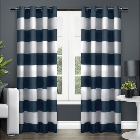 Exclusive Home Surfside Cabana Striped Grommet Curtain Panel Pair Indigo - EH7957-05 2-84G