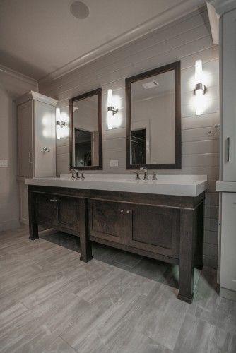 Colors Of Cabinets That Look Good With Grey Floor In 2020 Dark Wood Bathroom Trendy Bathroom Tiles Wood Tile Bathroom