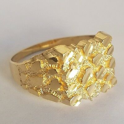 Man S Solid 10k Yellow Gold Nugget Ring S 7 7 5 8 8 5 And 9 In 2020 Gold Nugget Ring Gold Nugget Jewelry Gold Nugget