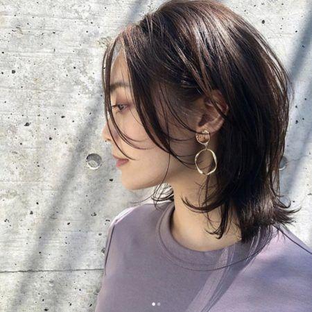 前髪なし ミディアムのヘアカタログ パーマ ストレート 黒髪 Lala