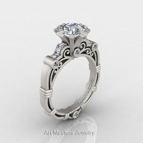 Art Masters Caravaggio 14K Matte White Gold 1.0 Ct White Sapphire Diamond  Engagement Ring R623-14KMWGDWS on Wanelo c0483b647