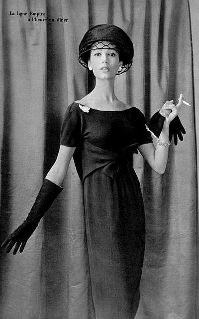 1958 Simone is wearing an empire-line dinner dress by Guy Laroche