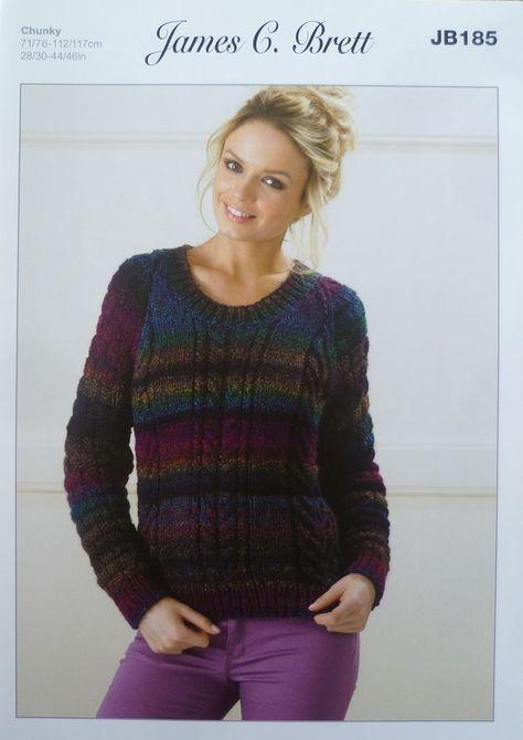 James C brett Chunky Knitting Pattern Sweater JB185  JamesCBrett 5ac5b3b98
