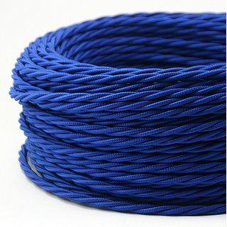 Textilkabel Dunkelblau 3 Adrig 3x0 75 Gedreht Doppelt Isoliert Textilkabel Textil Hellblau
