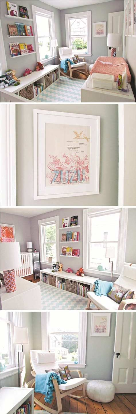 I like how this combines the wall shelves and a low bookcase/bench for more books and toys