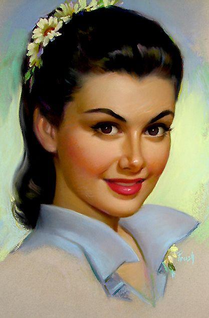 "Beautiful Vintage Pin Up Art Illustration by Pearl Frush "" Pin Up Vintage, Vintage Images, Vintage Art, Vintage Ladies, Pinup Art, Mode Pin Up, Art Visage, Retro Art, Pin Up Girls"