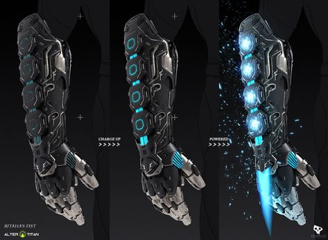 Energy Blade Gauntlet weapon design for ALTER TITAN - upcoming RPG game fueled by your fitness! This weapon was part of the game's first community challenge, where the players submitted back stories and weapon ideas to be chosen to be developed. Ninja Weapons, Anime Weapons, Sci Fi Weapons, Zombie Weapons, Futuristic Armour, Futuristic Art, Futuristic Technology, Energy Technology, Technology Gadgets