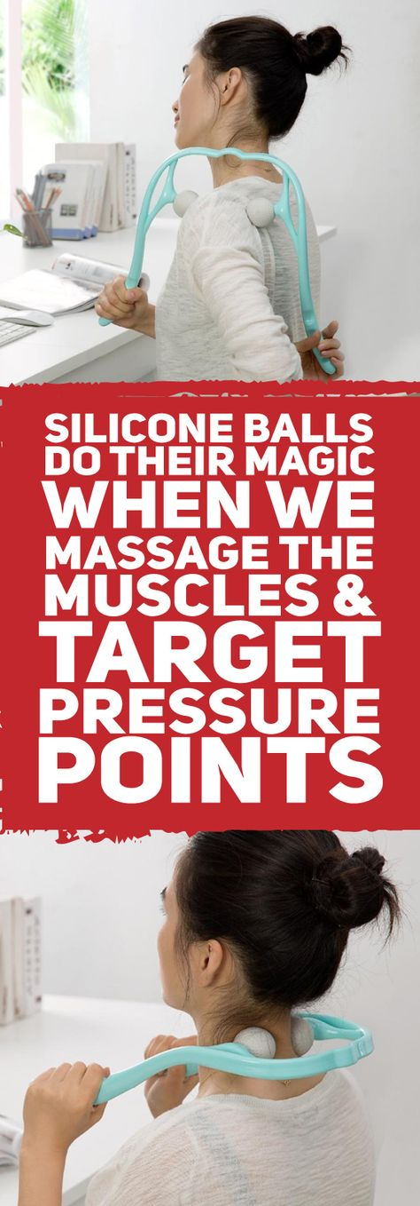 This amazing neck and shoulder massager is designed to feel exactly like a therapist's comforting hands. It features two soft, yet firm, silicone balls, that resemble golf balls. These soft, silicone balls deeply penetrate tight muscles and target pressure points, providing you with instant relief from sore, aching muscles and knots in your neck.