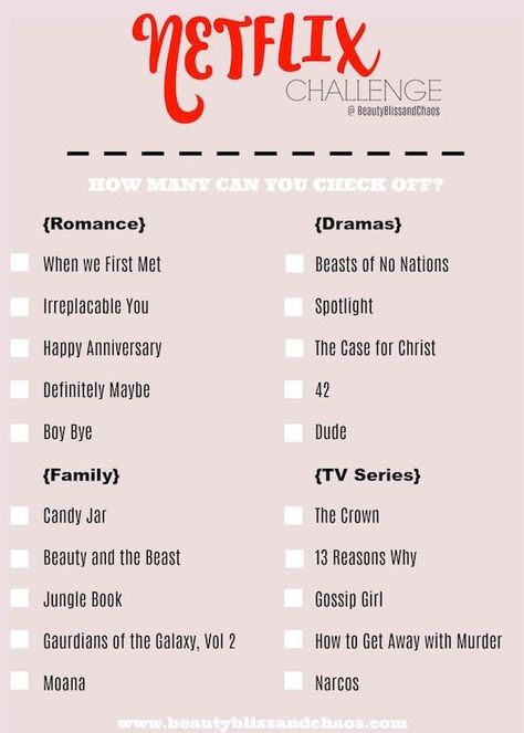 A list of movies to watch in Netflix. Such as: Drama Movies, Family Movies, Romance, and tv series. Ever wonder what movies you should watch? Well here is a Netflix challenge with variety of movies for you to watch. Make Friday Night movie night #Netflix #NetflixChallenge #Movies