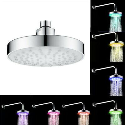 "7 Colors Automatic Changing 8/""inch Round Top Shower Head Bathroom LED Light Rain"