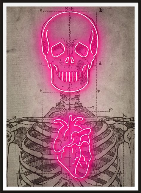 Vintage medical skeleton diagram, with super sexy glowing bright Neon over the top! Neon Led, Skeleton Art, Skeleton Makeup, Skull Makeup, Neon Painting, Body Painting, Graffiti Painting, Neon Design, Neon Aesthetic