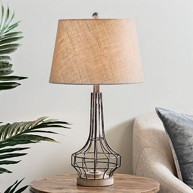 Industrial Style Gets A Rustic Makeover In This Gus Washed Metal Table Lamp You Ll Love The Pairing Of Farmhouse Table Lamps Metal Table Lamps Kirkland Lamps