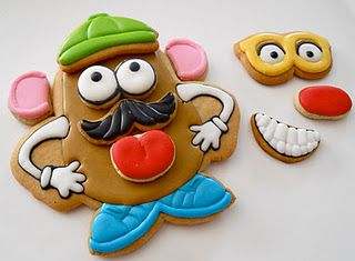 Mr. Potato Head cookie just like the toy!  Just might be the most creative and cute cookie ever!  Click on the link to see all the different faces:)